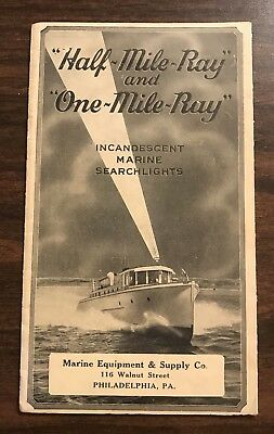 Vintage Marine Searchlight Catalog Half Mile Ray & One Mile Nautical Boating