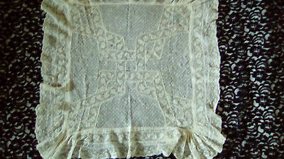 ANTIQUE FRENCH pillowcase cover embroideries and lace.End 19 th c