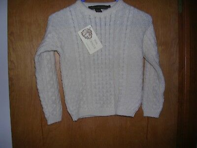 Inis Crafts NEW Ireland Wool sweater size 6 Obair Na nGael patch Ivory knit Kids
