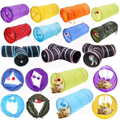 Funny Pet Cat Kitten Tunnel Toy Play Tube House Tent w/ Tinkle Bell Plush Ball