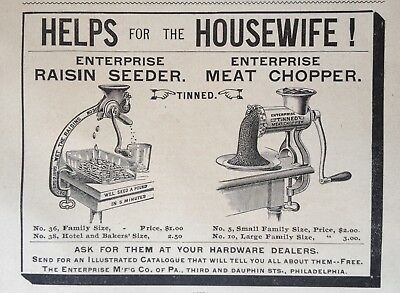 1895 Ad(30)~Enterprise Mfg. Co. Enterprise Raisin Seeder And Meat Chopper