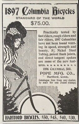 1897 Ad(1800-27)~Pope Mfg. Co. Hartford, Conn. Columbia Bicycles For 1897
