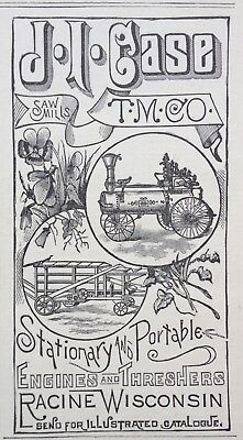 1887 Ad (1800-22)~J.i. Case Co. Saw Mills, Engines And Threshers