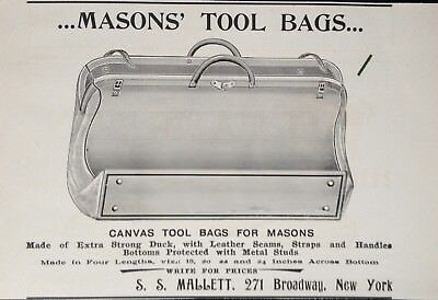 1897 Ad(1800-27)~S.s. Mallett Co. Broadway, Ny. Canvas Masons' Tool Bag