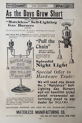 1895 Ad(29)~Matchless Mfg. Co. Ny. Self-Lighting Gas Burners, Night Light