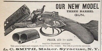 1884 Ad(1800-32)~L.c. Smith Co. Syracuse, Ny. New Three Barrel Gun