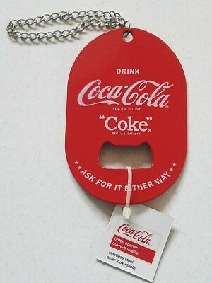 COCA COLA Coke Stainless Steel Red Official Logo Pocket Keychain Bottle Opener