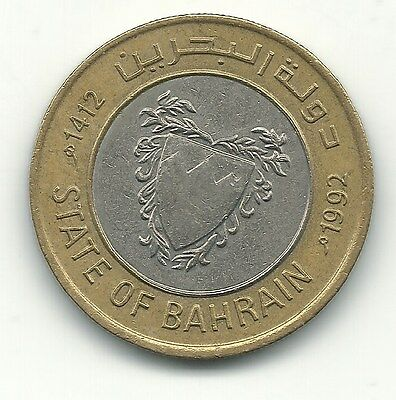 High Grade Xf/au 1992 Bahrain Bimetal 100 Fils Coin-Feb093
