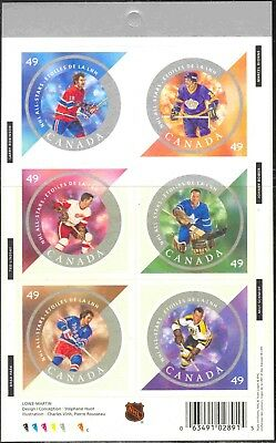 2004 Canada #2018 Complete MNH Self-Adhesive Booklet (#284) Hockey All-Stars