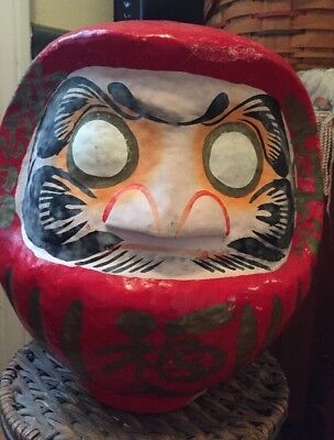 """Japanese Red Daruma Wish Doll for Luck & Good Fortune, Made in Japan  9.5"""""""