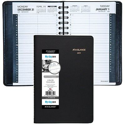 """2019 At-A-Glance 70-800 Daily Appointment Book, 4-7/8 x 8"""", Black Cover"""