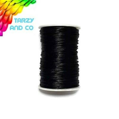 2mm Black Satin Nylon Cord DIY Silicone Bead Was Teething Necklace Jewellery