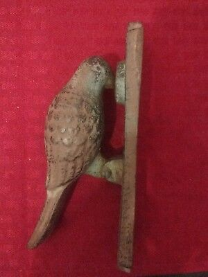 "Vintage Cast Iron Wood Pecker Door Knocker 6"" x 4"" x 2"" Woodpecker Bird"