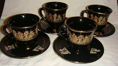 Hand Made Greece Set of 4 Black Tea Cups and Saucers 24 K Gold Trim Greek Gods