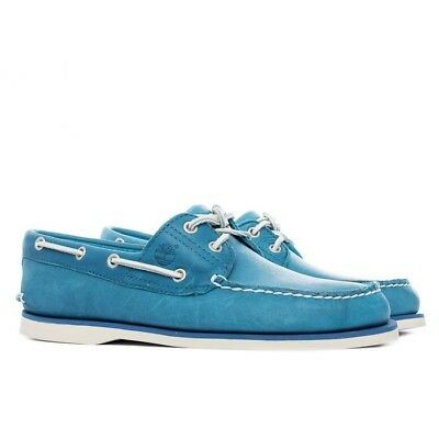 TIMBERLAND MENS 2 Eye Classic Lace Up Blue Leather boat shoe