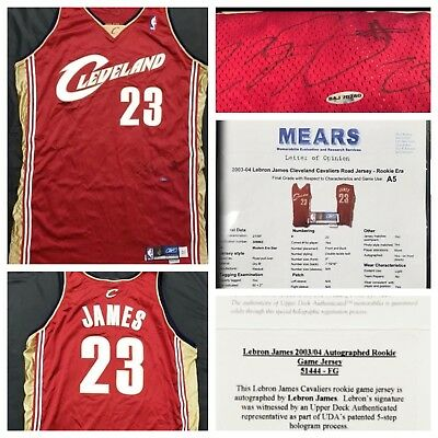 dee35347403 Lebron James Signed Autographed 2003 Game Used Rookie Jersey Mears UDA COA  + LOA