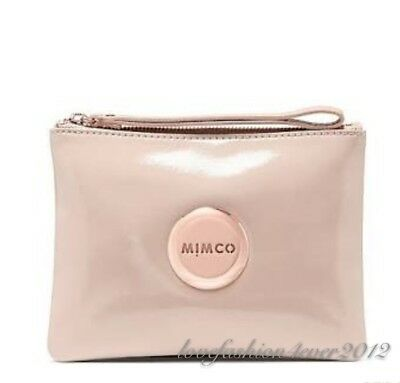 Free Post Mimco Pancake Rose Gold Nude Medium Pouch Wallet Patent Leather Rrp99