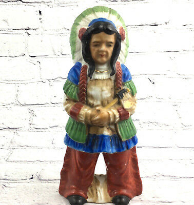Vintage Native American Statue Figurine Chief Squaw Made in Japan