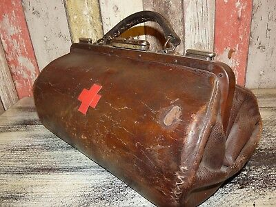 Vintage Bulgarian Royal Leather Apothecary Medical Doctor Bag Suitcase 1910's