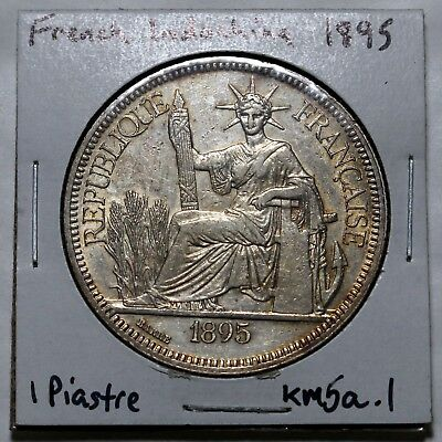 French Indochina 1895 Piastre KM5a.1 Silver XF