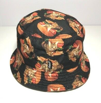73621618f79 MENS NEFF CAT Burger Reversible Bucket Hat One Size -  12.50