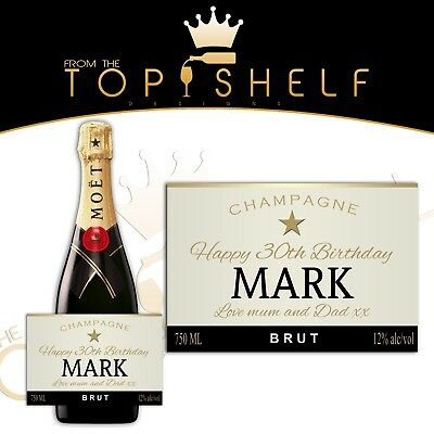 Personalised Moet & Chandon champagne prosecco label birthday any occasion