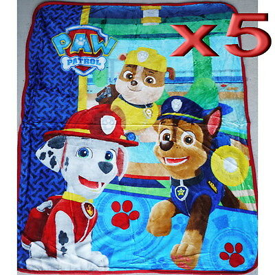5pc Wholesale Bulk Lots Kids Fur Fleece Blanket Paw Patrol Polar Throw Soft