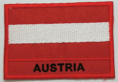 "AUSTRIA Flag EMBLEM PATCH SEW ON EASY TO USE 2""x3"""