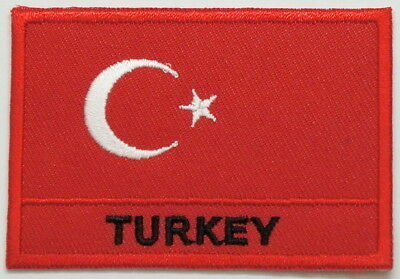 "TURKEY Flag EMBLEM PATCH SEW ON EASY TO USE 2""x3"""