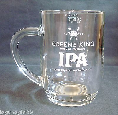 Greene King IPA Handled Pint Beer Glass Pub Home Bar Man Cave Unused