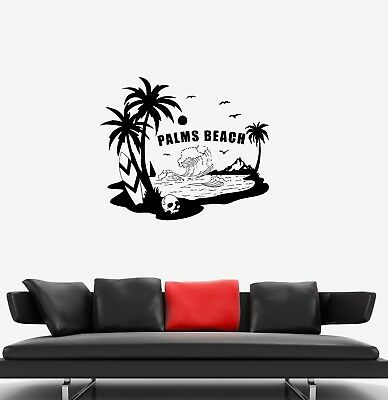 Wall Decal Beach Palms Skull Surfing Nature Sea Ocean Vinyl Sticker (ed1197)