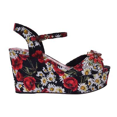 1174ad7ce4854c DOLCE   GABBANA Brocade Crystal Carnation Wedge Sandals BIANCA Black Red  06730