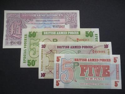 British Military Armed Forces Special Vouchers Set Of Four Notes Uncirculated.