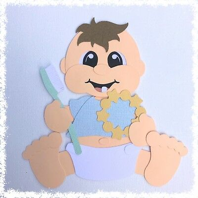 Fully assembled 'My First Tooth baby boy' paper piecing