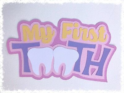 Fully assembled 'My First Tooth' scrapbook title - pink