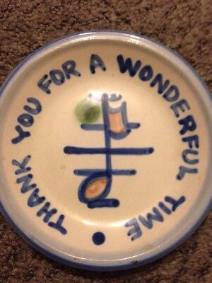 M. A. Hadley Coaster Music Note Signed Thank You 4 1/4""