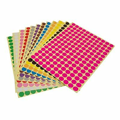 LJY Round Dot Stickers Color Coding Labels, 12 Different Assorted Colors Dot Lab