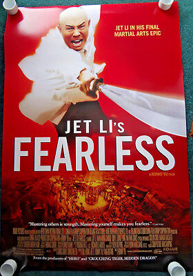 "Jet Li's Fearless-26 x 40"" ORIGINAL 2006 DS Rolled Movie Poster-NEAR MINT"