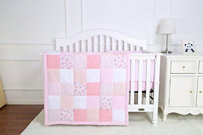 4 Piece Nursery Baby Cot Bedding Set including Quilt Pillow Bumper and Fitted Sh