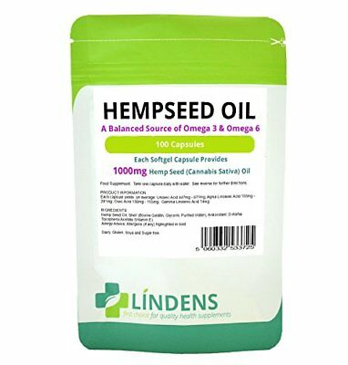 Lindens Hempseed Oil 1000mg Capsules  100 Pack  UK Manufacturer