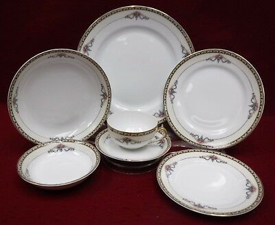 NORITAKE china MINERVA 1921 pattern 7-piece Place Setting w/ Fruit & Soup Bowls