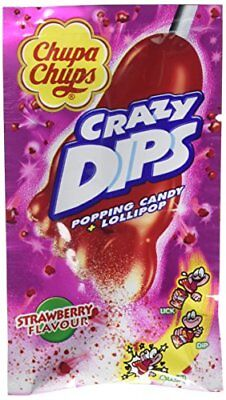 Strawberry Lolly  Popping Candy - Crazy Dips by Chupa Chups Box of 24