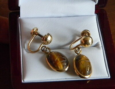 1950' Vintage Carved Tiger's Eye Scarab 12K Gold Fillled Screw Earrings