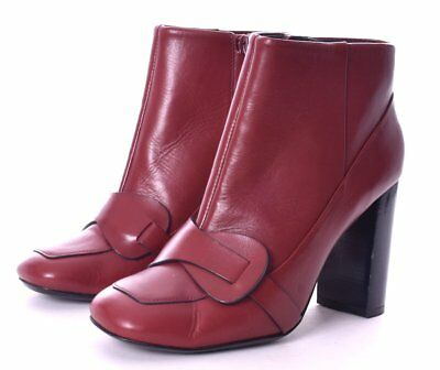 fddecd84101 TORY BURCH Bond Cherry Red Leather Heel Ankle Boots Size 8 New