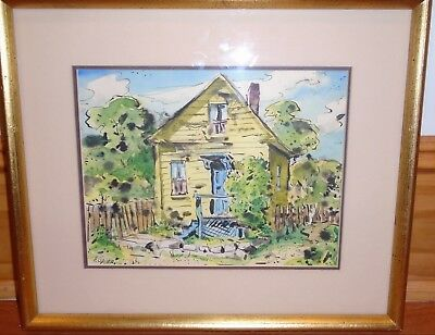"""""""Yellow House"""" Watercolor & Ink Painting-Pictured In His 1962 Book-Henry Gasser"""