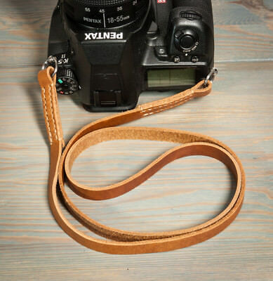 38in Hand made tan leather camera strap