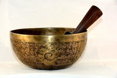 18 cm fine etching Handmade singing bowl with pillows and mallet, real handmade