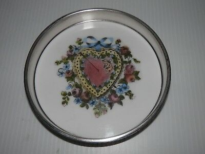 Frank Whiting Sterling Silver Delano Studios Heart Cherub Hand Colored Coaster