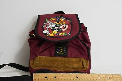 01 Vintage 1995 Looney Tunes Backpack Bag Purse Canvas Leather