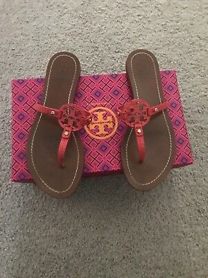 225617179af8 NIB TORY BURCH Patent Leather Miller Sandal Thong Red White Striped ...